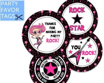 Rock Star Party Favor Tags - Rock Star Tags, Rock Star Party Tags, Rock Star Favor Tags, Rock Star Party Printables, Rock Star Theme Party