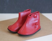 Vintage Baby Leather Rain Boots Red Navy Baby Little Girl Boy Fall Winter Shoes 2 to 5 months Portuguese Handmade Old New Stock Christmas
