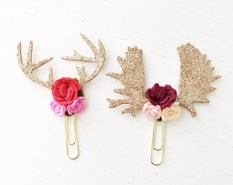 Mounted Antlers Paper Clips || Antler Paper Clips || Deer Antlers || Moose Antlers || Flower Paper Clips || CHOOSE YOUR COLORS