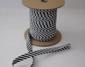 "Double Fold Bias Tape EXTRA WIDE 1/2"" Black White Striped 12 Yards Wholesale"