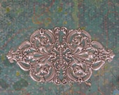 One Spectacular Oxidized Sterling Silver Plated Brass Stamping Design 5-3/4 x 2-34 Inches (1)