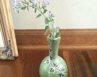Green pottery vase, ivy vase, small pitcher