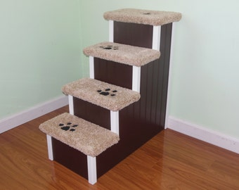 "Pet-Steps-Dog-Stairs, 30"" High for Those Very Tall Beds, Designer Pet Stairs, Choose the Color to Match Your Decor. Hand Built in the USA."