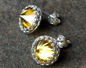 Citrine Cubic Zirconia Gemstone Earrings- Reverse Set Gemstone Stud Earrings- Yellow Citrine Faceted Post Earrings- Cubic Zirconia Jewelry