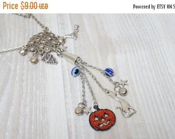 HALLOWEEN SALE Halloween Necklace goth jewelry set extra long pendant orange charm pumpkin which hat owl black cat stars jingle bells evil e
