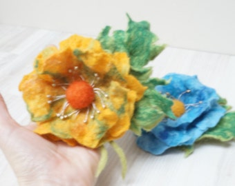 Felt blue flower with leaf brooch beaded wool peony rose textile felted fabric yellow orange red green pin jewelry decor