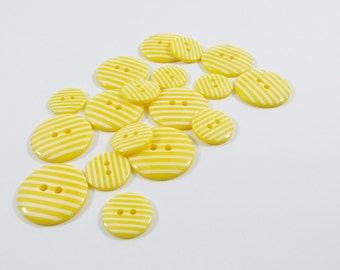 23mm Candy Stripe Buttons - Yellow [B0029]
