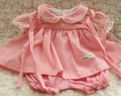 Vintage 1980s, Original, Cabbage Patch, Doll Clothes, Pink Gingham, Dress Set, Shoulder Ties, Coleco, Collectible,