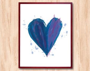 Heart Art Print, Wall decor, Watercolor style, home decor, kids room art, Retro poster, Scandinavian art, modern art, mid century art