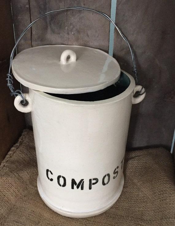 large kitchen compost bin by homethrownpottery on etsy. Black Bedroom Furniture Sets. Home Design Ideas