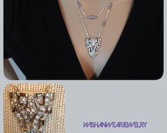 Vintage Rhinestone Pendant Necklace Second Time Around Repurposed Art Deco Dress Clip Pearls Silver Chain Retro Boho Hip WishAnWearJewelry