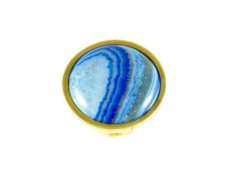 Blue Crystal Ball/ Stone Drawer Pull/ Custom Knob