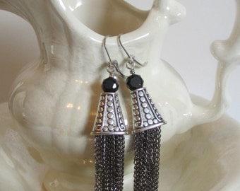 Black Chain Tassel Earrings -Silver Tassel Earrings - Chain Tassels- Long Tassel Earrings-  Dangle Earrings- Handmade Jewelry