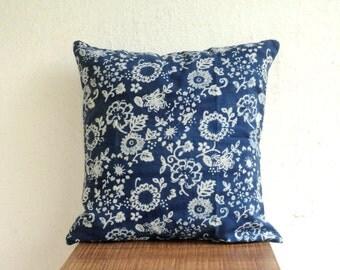 Floral Indigo Pillow cover ,Block Print pillow cover, Floral Print throw pillows, blue cushion cover, Indigo and white pillow