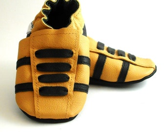 soft sole baby shoes leather infant sport yellow black 12 18 m ebooba SP-32-Y-T-3