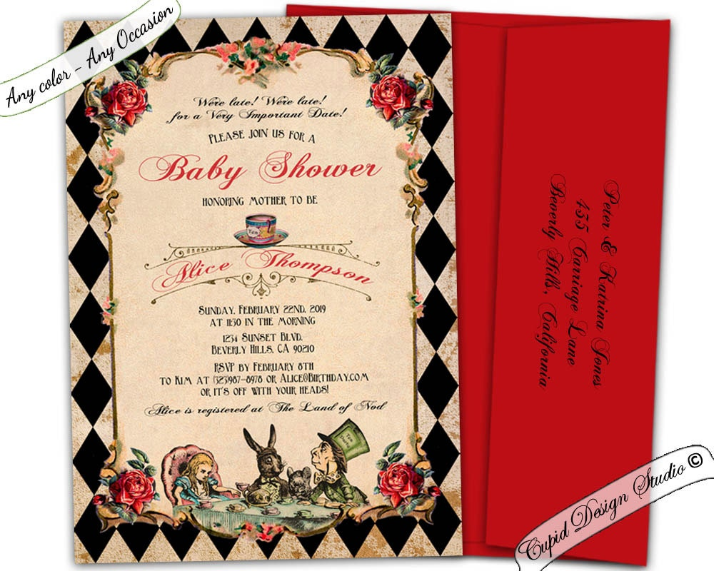 alice in wonderland baby shower invitations mad hatter baby