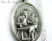 St. Joseph Charm, St Joseph the Worker Charm Medal Necklace, Baptism Gift,  Patron Saint Unemployed, Family, Fathers, Expectant Mothers