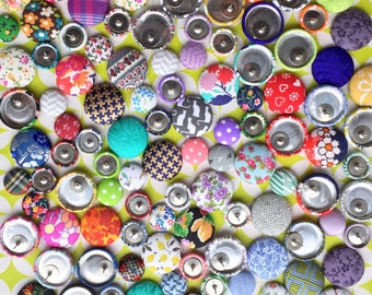 Wholesale Earrings / 10 Pairs / Fabric Covered Button Earrings / Bulk Jewelry / Custom Order / Stud Earrings / Small Gifts for Her