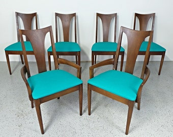 set of 6 mid century modern Broyhill premier walnut teal tweed dining chairs