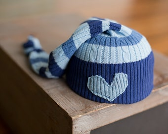 Newborn Hats Upcycled Striped Blue Hat Heart READY TO SHIP Cable Knit Stocking Hat Sleepy Time Long Tail Boys Hats Newborn Photography Prop