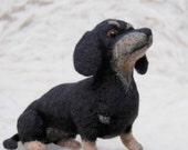 Needle Felted Dachshund, Handmade Animal, Black And Tan Dachshund, - READY TO SHIP