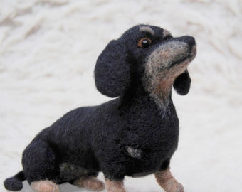 Needle Felted Dachshund, Handmade Animal, Black And Tan Dachshund, - READY TO SHIP