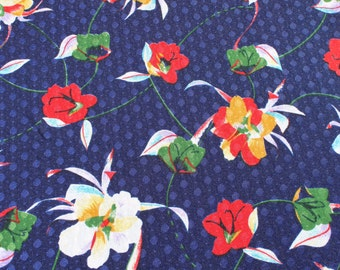 Vintage Flower Jersey Knit Fabric, Blue Red Floral Stretchy 1970s 70s Polyester, Mod Retro Fabric Material, 4 yards