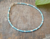 turquoise and white anklet surfer beach nautical cruise wear jewelry beach wedding