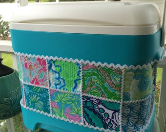 Large Aqua Lilly Pulitzer Patch Work Fabric Covered 30 qt Igloo Cooler, sorority gift, tailgate party, beach ready