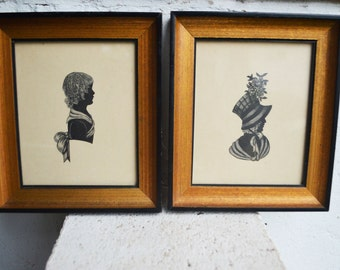 Vintage Silhouettes/Etchings Framed Wall Hangings/Mother and Child