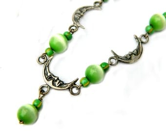Taxco Mexico Moon Necklace Sterling Green Cats Eye Bead Crescent Moon Vintage Signed Artist GC 10 SALE Coupon Sparkle2017 For 15% Discount