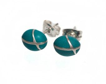 Birthday Womens Gift, Bohemian Earrings, Blue Stud Earrings, Small Earrings, Shabby Chic Earrings, Something Blue, Silver Post Earrings