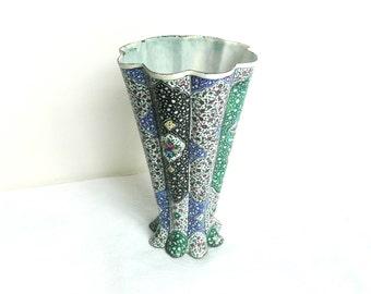 Antique Persian vase - Persian enamel vase - vintage Persian enamel - fluted copper enamel vase - Persian copper enamel vase