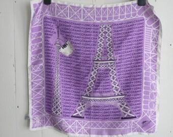 Longchamp silk square - vintage Longchamp silk neckerchief - purple Longchamp Eiffel Tower silk scarf - vintage Italian silk neckerchief