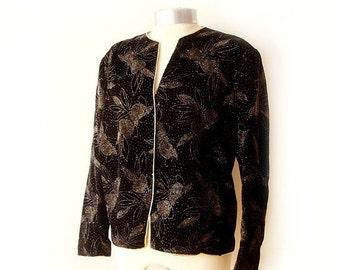 SALE Vintage Black Jacket velvet decorated with gold flower design , 80's  Black Jacket velvet XL , Oversized  Black Jacket.