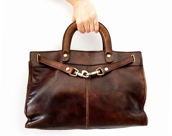 SALE Italian Genuine Leather Bag ,Vintage Leather Brown Handbag by ORIGINAL Fiaschi Milano, Vintage Kelly model Bag