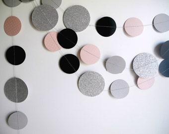 silver glitter Mauve Mist black grey garland, black silver circle paper decor, mauve baby shower, wedding decor, girl birthday party garland
