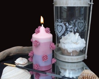 Vegetable candle cylinder floral scent with roses