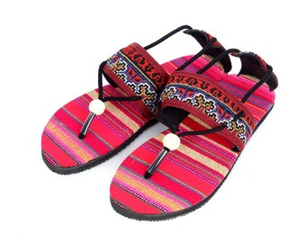 Women's Size 7 Thai HMONG Thong Vintage cotton pink fabric Sandal Handmade (SD054_7)