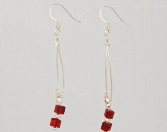 Red Curve Crystal Cube Earrings