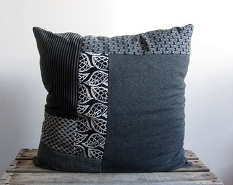 Decorative pillow cover 18 x 18, grey, black and white pattern knit fabrics patchwork. Upcycled recycled repurposed, one of a kind, handmade