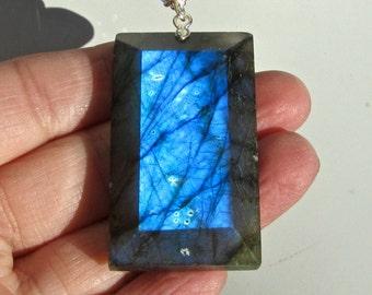 Labradorite Statement Necklace, Blue Labradorite, Long Chunky Necklace, Black Freshwater Pearls, Lapis, Crystals 1041