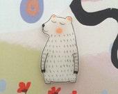 Polar Bear plastic brooch, hand drawn, one of a kind