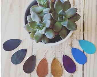 "Leather ""Raindrop"" earrings all handmade. Women's leather earring."