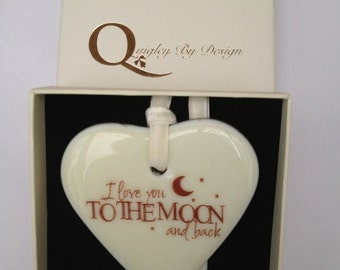 "Fused Glass Heart  ""I love you to the Moon and Back"" Can be Personalised"