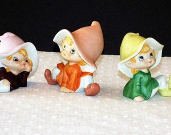 Vintage Homco Elves/Fairies Ceramic Figurines 5213