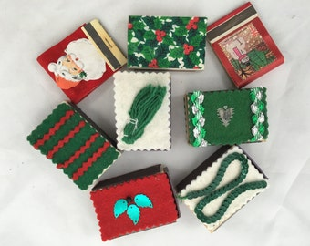 Collection of Mid Century Hand Embellished Match Box/Book Covers - Holiday Themed - Beautiful Condition