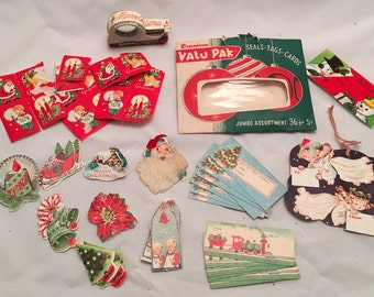 Vintage Christmas Lot - Variety of Tags, Stickers, Wrapping Items
