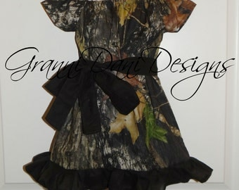 mossy oak camo short sleeve peasant dress baby toddler girl 6 9 12 18 24 months 2t 3t 4t 5t ruffle black