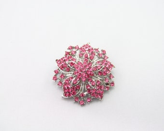 Pink Rhinestone Brooch / Bridal Brooch / Crystal Brooch Component / Flower Brooch RBR-38 - Hot Pink